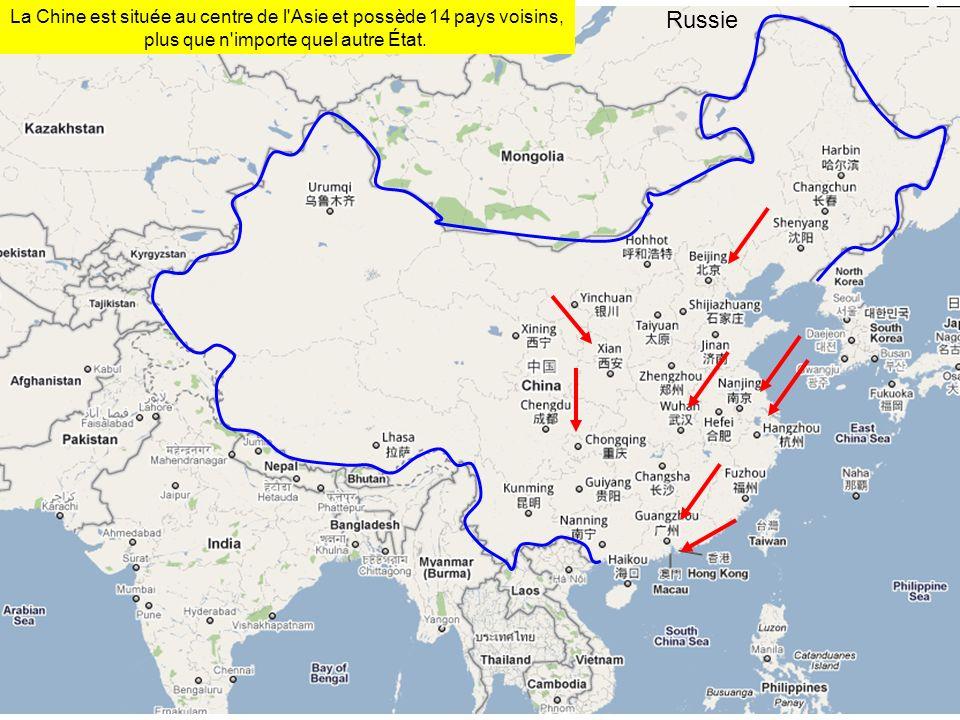 RussieLa Chine est située au centre de l Asie et possède 14 pays voisins, plus que n importe quel autre État.