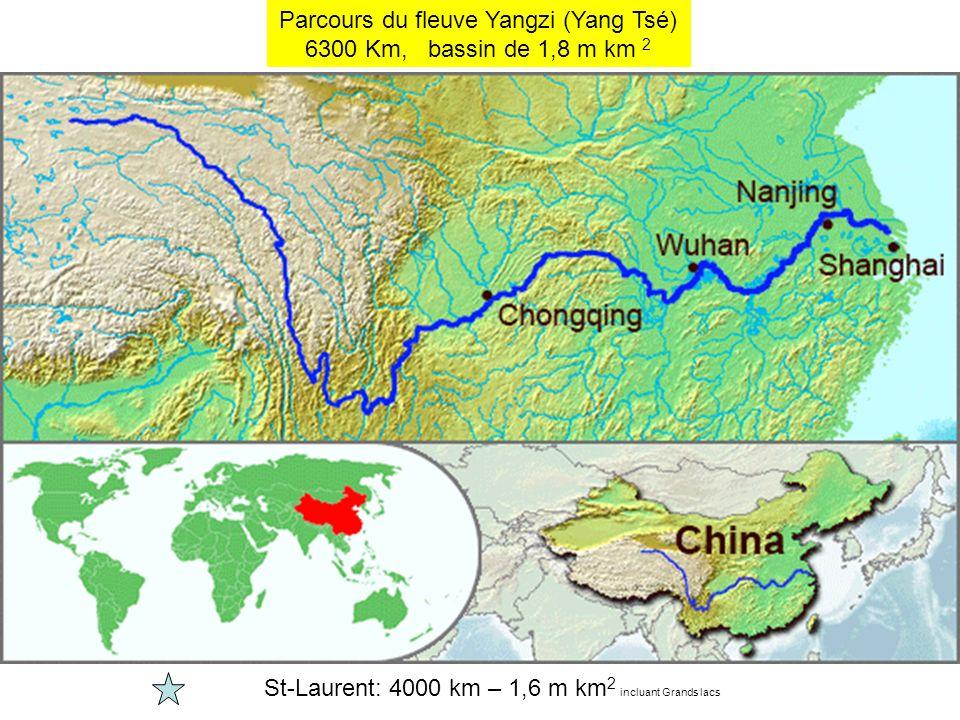 Parcours du fleuve Yangzi (Yang Tsé) 6300 Km, bassin de 1,8 m km 2