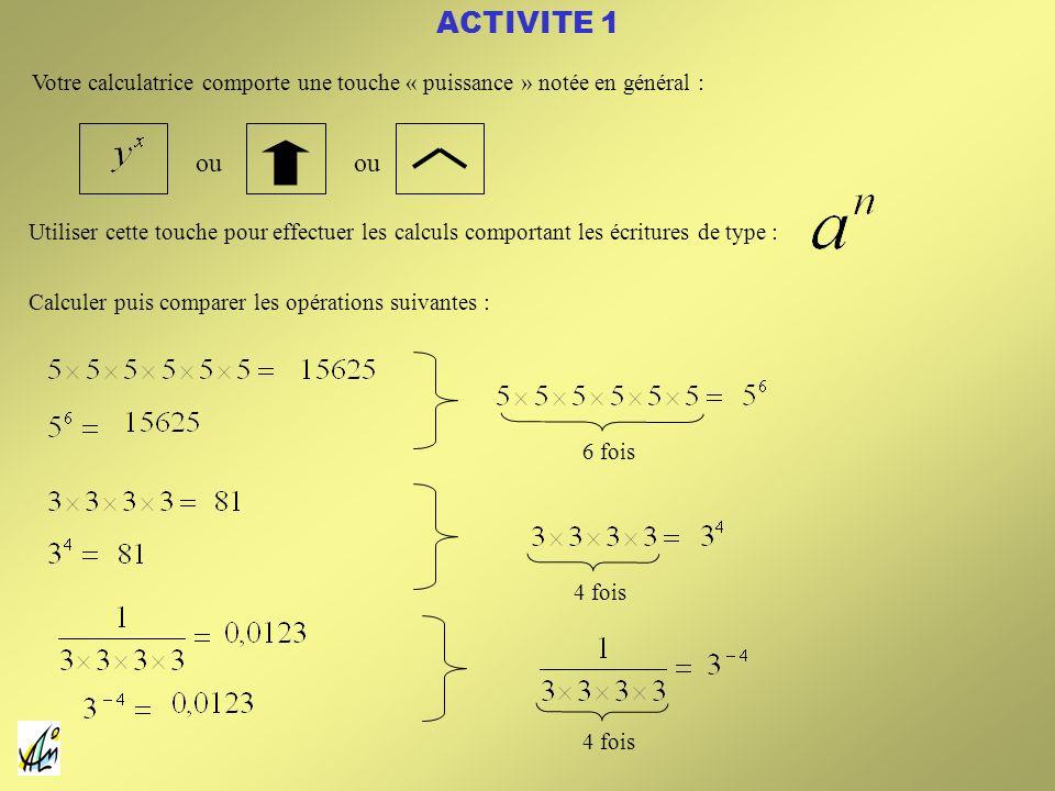 ACTIVITE 1 Votre calculatrice comporte une touche « puissance » notée en général : ou. ou.