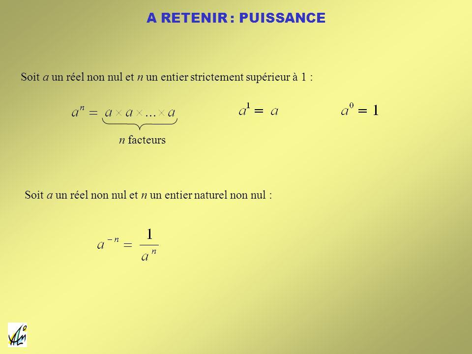 A RETENIR : PUISSANCE Soit a un réel non nul et n un entier strictement supérieur à 1 : n facteurs.