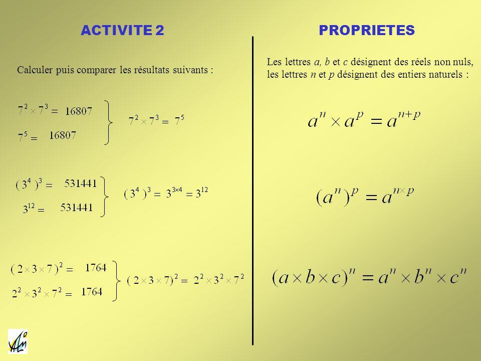 ACTIVITE 2 PROPRIETES. Les lettres a, b et c désignent des réels non nuls, les lettres n et p désignent des entiers naturels :