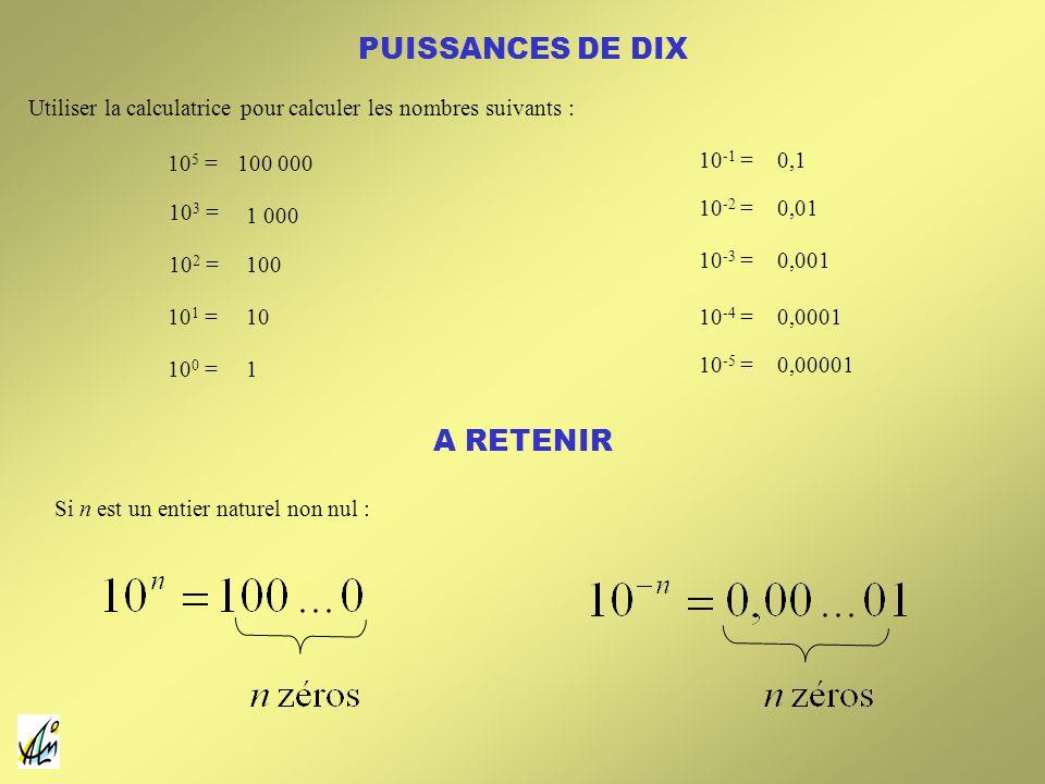 PUISSANCES DE DIX A RETENIR