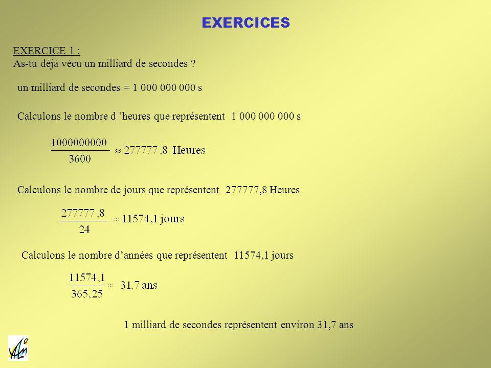 EXERCICES EXERCICE 1 : As-tu déjà vécu un milliard de secondes