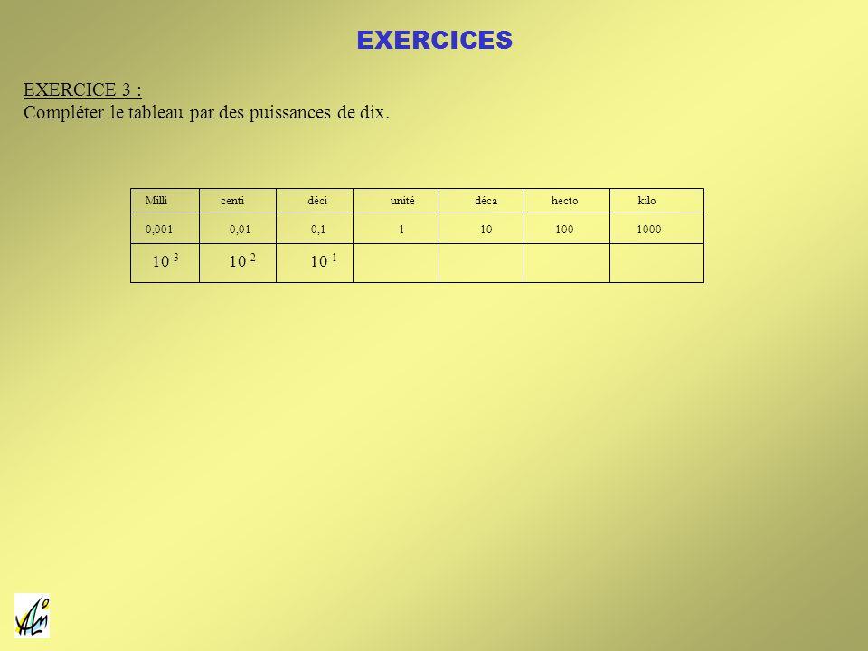 EXERCICES EXERCICE 3 : Compléter le tableau par des puissances de dix.