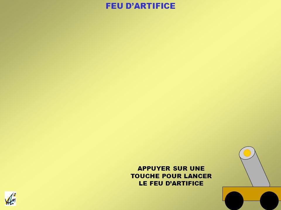APPUYER SUR UNE TOUCHE POUR LANCER LE FEU D'ARTIFICE