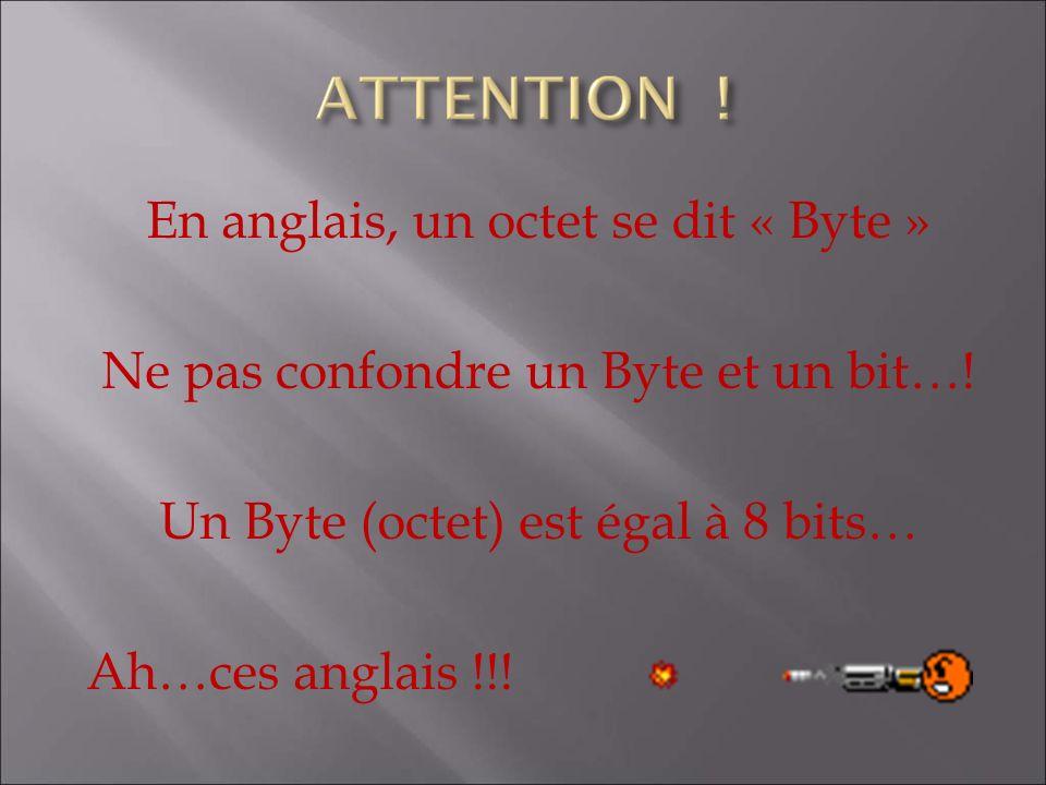 En anglais, un octet se dit « Byte » Ne pas confondre un Byte et un bit….