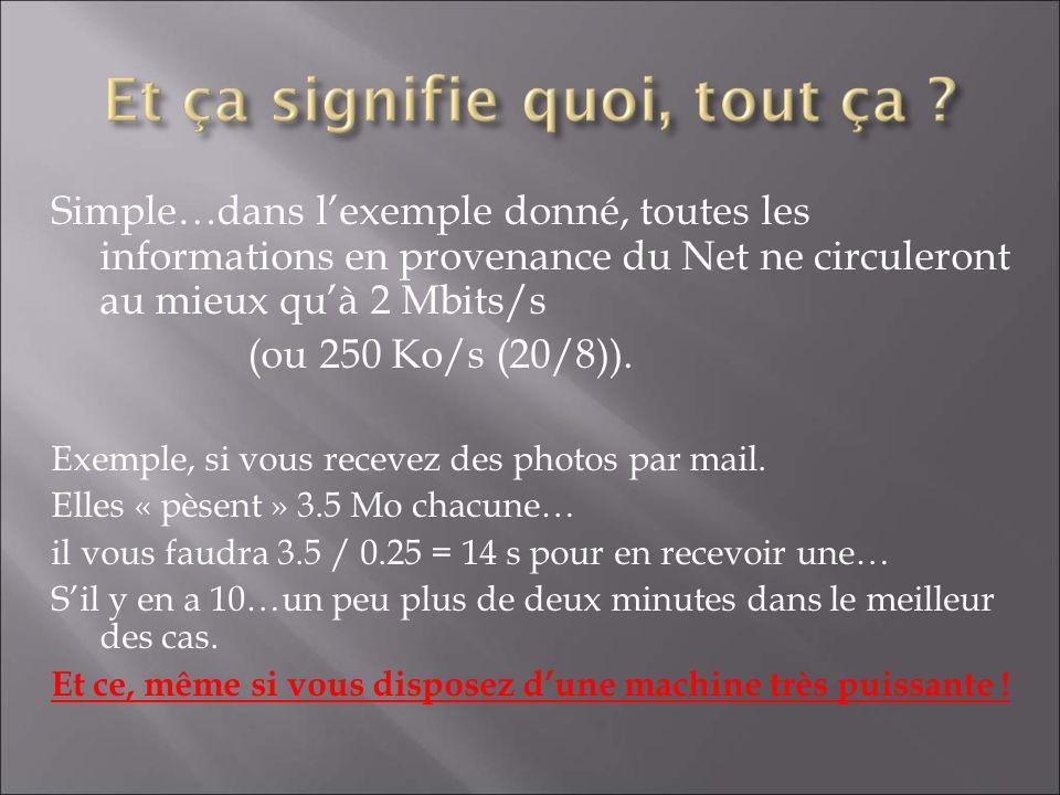 Simple…dans l'exemple donné, toutes les informations en provenance du Net ne circuleront au mieux qu'à 2 Mbits/s