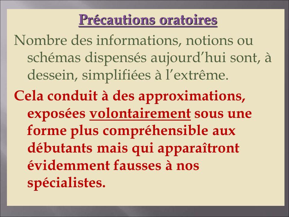 Précautions oratoires Nombre des informations, notions ou schémas dispensés aujourd'hui sont, à dessein, simplifiées à l'extrême.