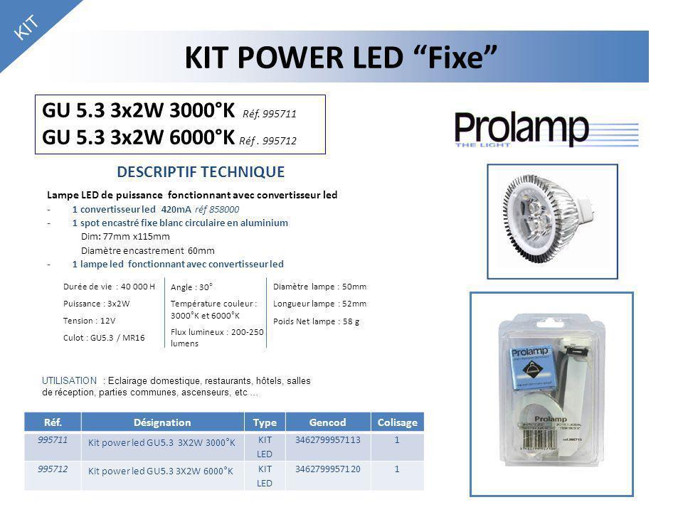 KIT KIT POWER LED Fixe GU 5.3 3x2W 3000°K Réf. 995711 GU 5.3 3x2W 6000°K Réf . 995712. DESCRIPTIF TECHNIQUE.