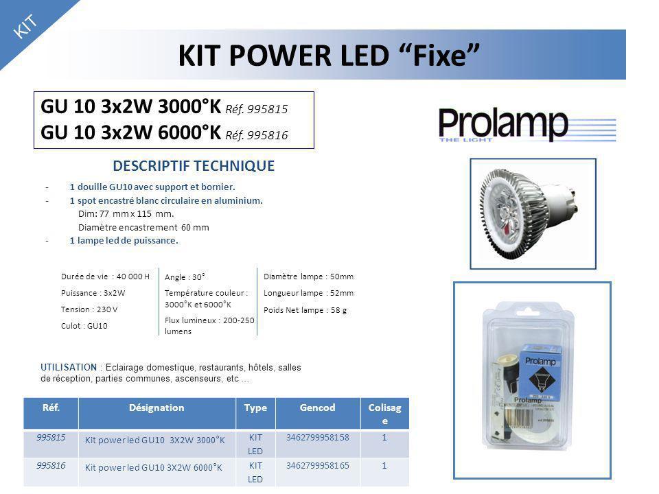 KIT KIT POWER LED Fixe GU 10 3x2W 3000°K Réf. 995815 GU 10 3x2W 6000°K Réf. 995816. DESCRIPTIF TECHNIQUE.