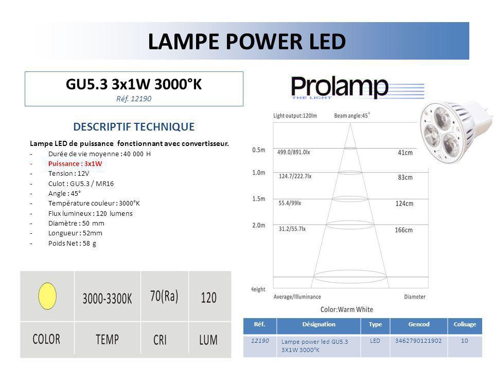 LAMPE POWER LED GU5.3 3x1W 3000°K Réf. 12190 DESCRIPTIF TECHNIQUE