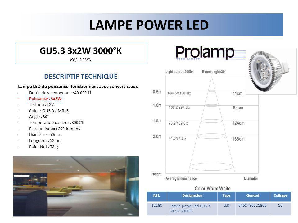 LAMPE POWER LED GU5.3 3x2W 3000°K Réf. 12180 DESCRIPTIF TECHNIQUE