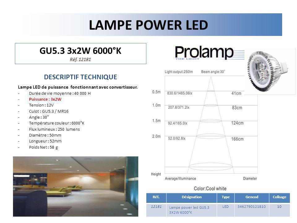 LAMPE POWER LED GU5.3 3x2W 6000°K Réf. 12181 DESCRIPTIF TECHNIQUE