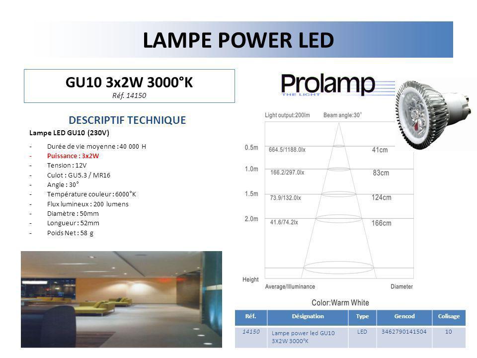 LAMPE POWER LED GU10 3x2W 3000°K Réf. 14150 DESCRIPTIF TECHNIQUE