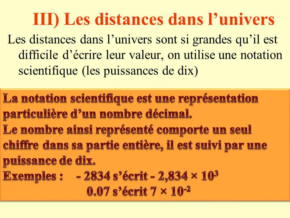 III) Les distances dans l'univers