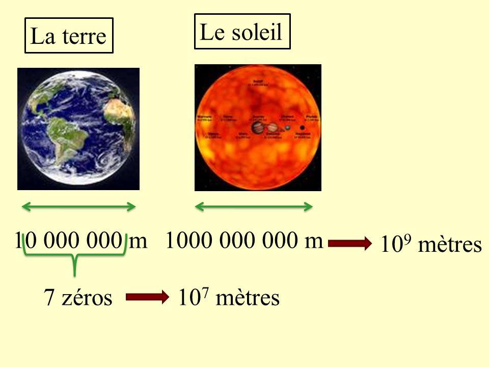 Le soleil La terre 10 000 000 m 1000 000 000 m 109 mètres 7 zéros 107 mètres