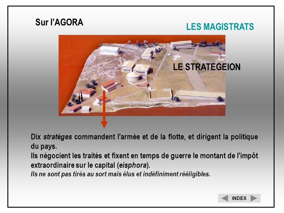 Sur l'AGORA LES MAGISTRATS LE STRATEGEION