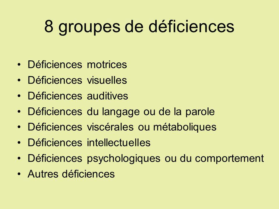 8 groupes de déficiences