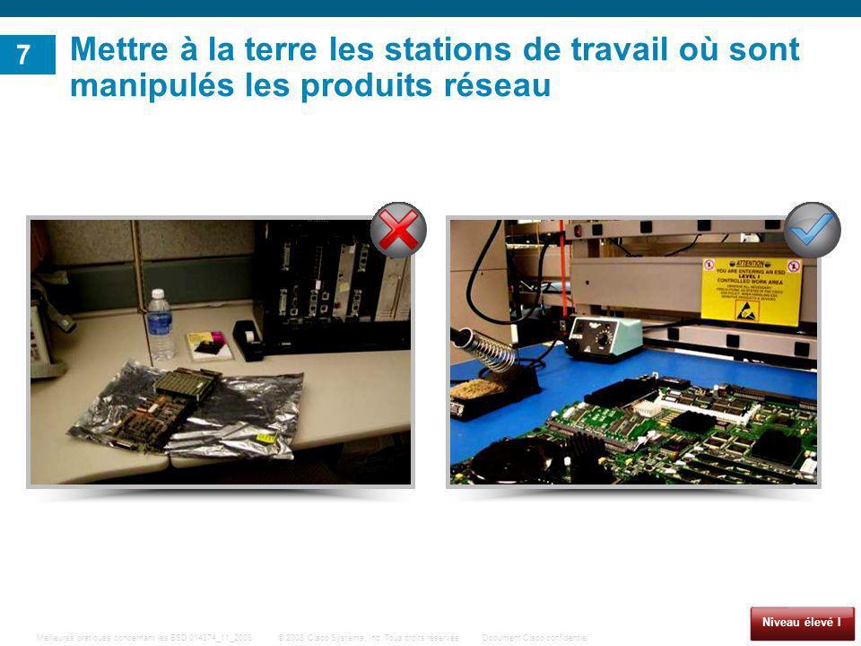 Mettre à la terre les stations de travail où sont manipulés les produits réseau
