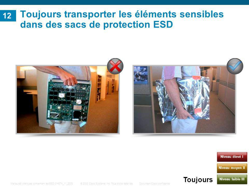 Toujours transporter les éléments sensibles dans des sacs de protection ESD