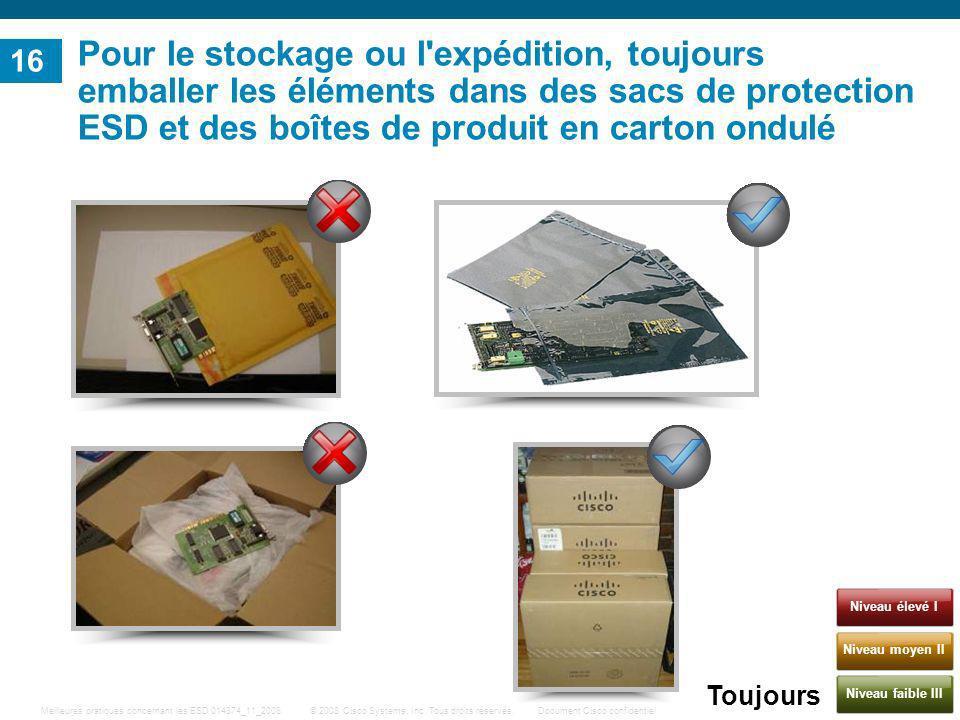 16 Pour le stockage ou l expédition, toujours emballer les éléments dans des sacs de protection ESD et des boîtes de produit en carton ondulé.