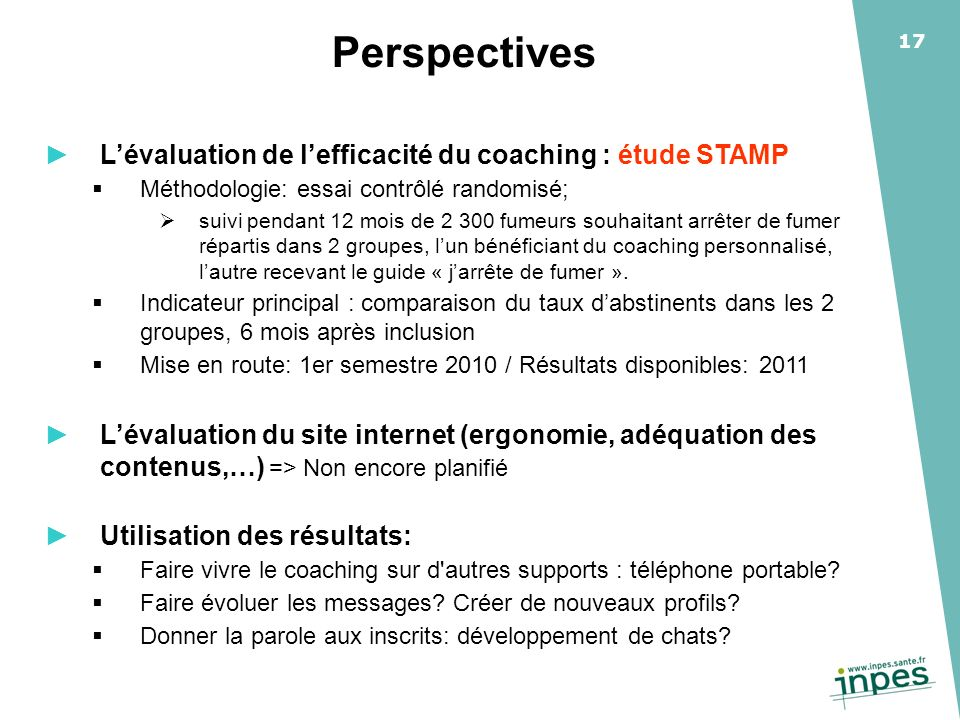Perspectives L'évaluation de l'efficacité du coaching : étude STAMP
