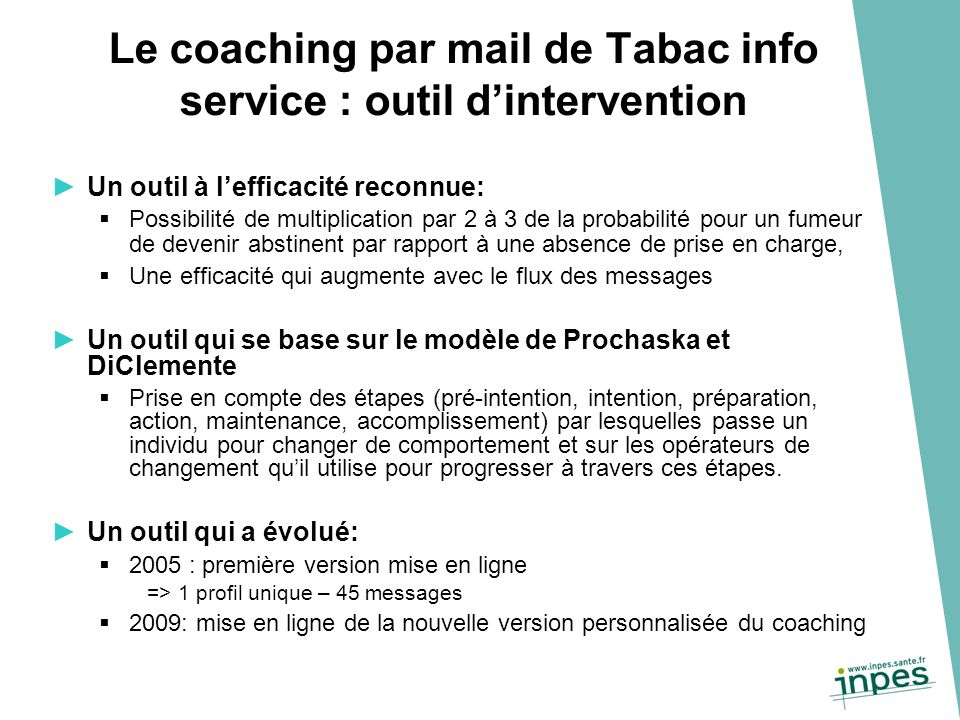 Le coaching par mail de Tabac info service : outil d'intervention