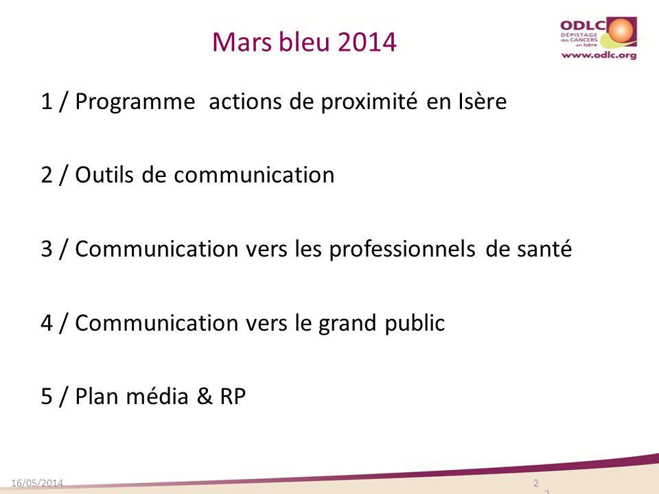 Mars bleu 2014 1 / Programme actions de proximité en Isère