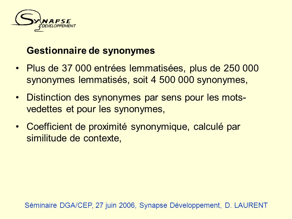 Gestionnaire de synonymes