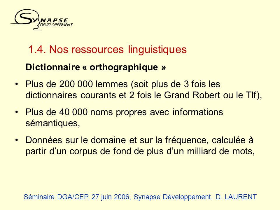 1.4. Nos ressources linguistiques