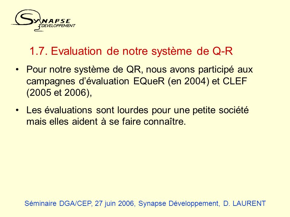 1.7. Evaluation de notre système de Q-R