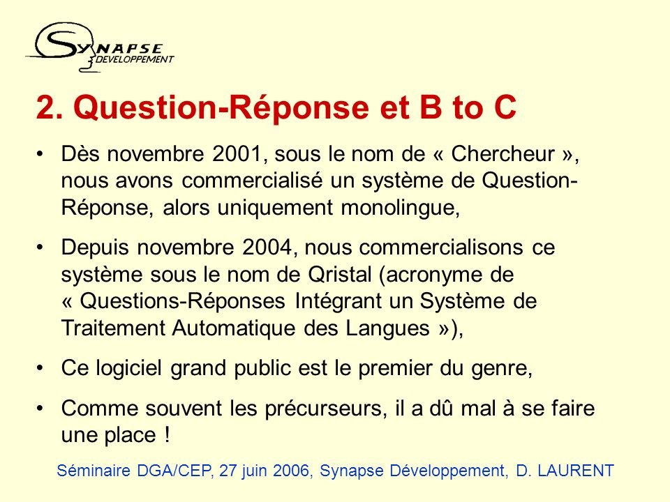 2. Question-Réponse et B to C