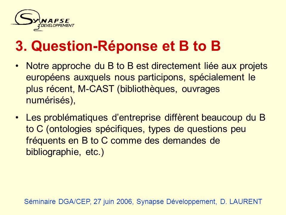3. Question-Réponse et B to B