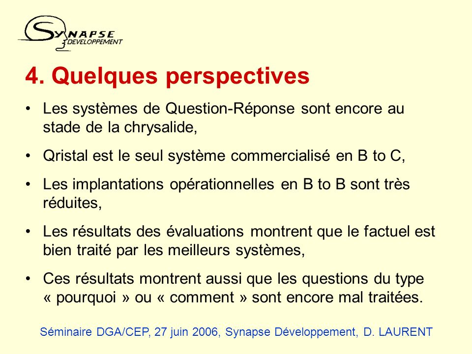 4. Quelques perspectives