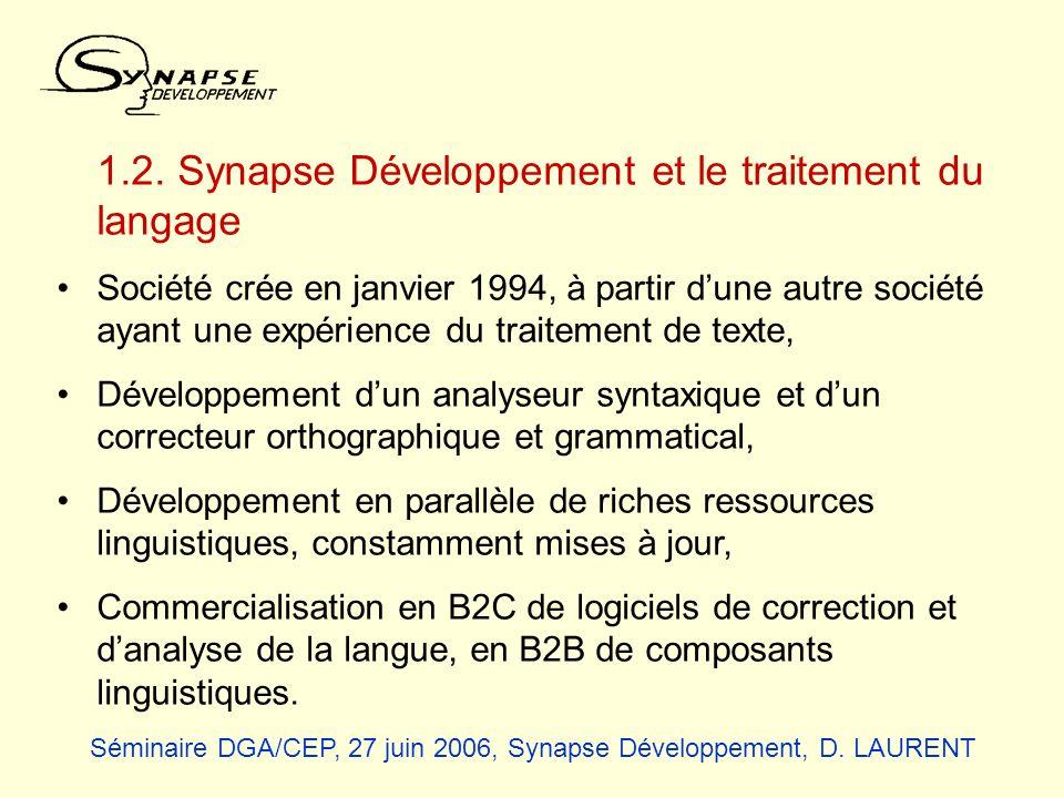 1.2. Synapse Développement et le traitement du langage