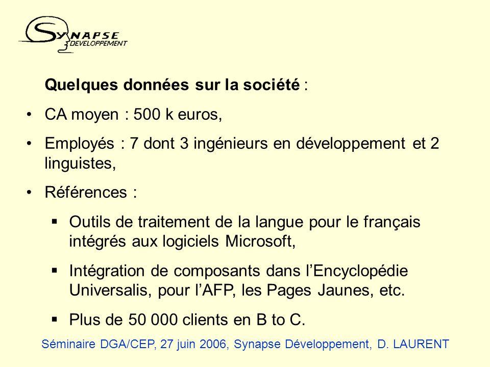 Quelques données sur la société : CA moyen : 500 k euros,
