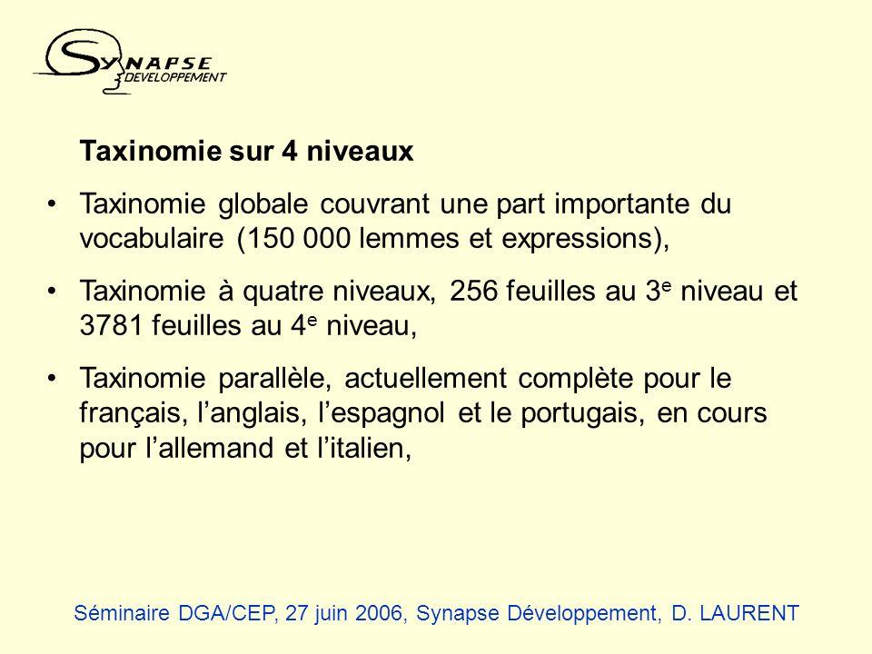 Taxinomie sur 4 niveaux Taxinomie globale couvrant une part importante du vocabulaire (150 000 lemmes et expressions),