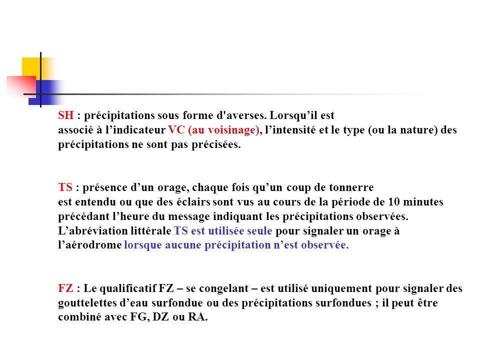 SH : précipitations sous forme d averses. Lorsqu'il est