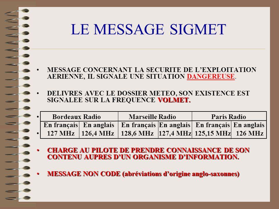 LE MESSAGE SIGMET MESSAGE CONCERNANT LA SECURITE DE L'EXPLOITATION AERIENNE, IL SIGNALE UNE SITUATION DANGEREUSE.