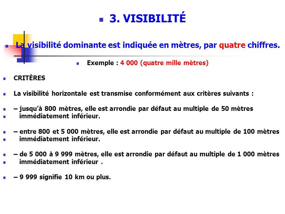 3. VISIBILITÉ La visibilité dominante est indiquée en mètres, par quatre chiffres. Exemple : 4 000 (quatre mille mètres)