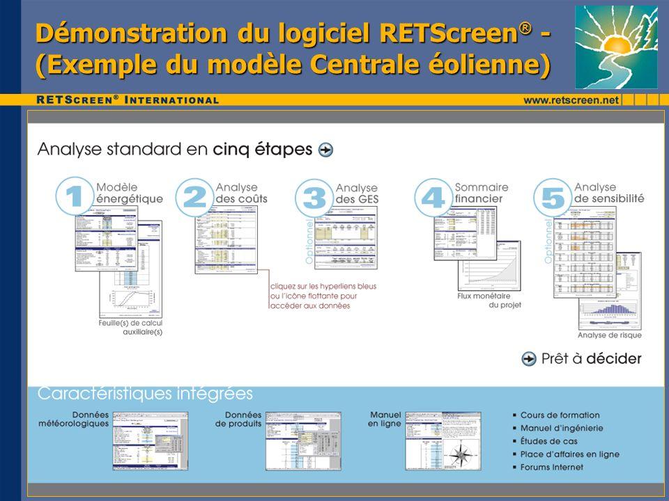 Démonstration du logiciel RETScreen® - (Exemple du modèle Centrale éolienne)