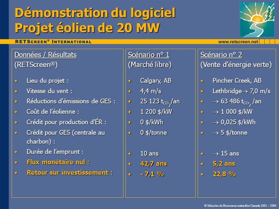 Démonstration du logiciel Projet éolien de 20 MW