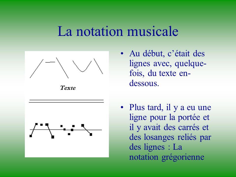 La notation musicale Au début, c'était des lignes avec, quelque-fois, du texte en-dessous.
