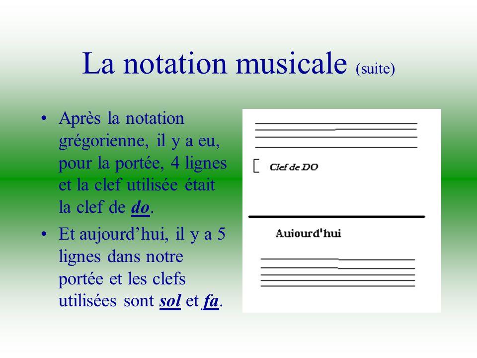 La notation musicale (suite)