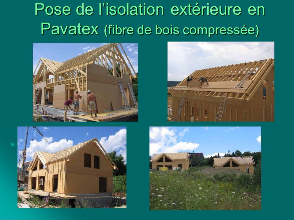 Pose de l'isolation extérieure en Pavatex (fibre de bois compressée)