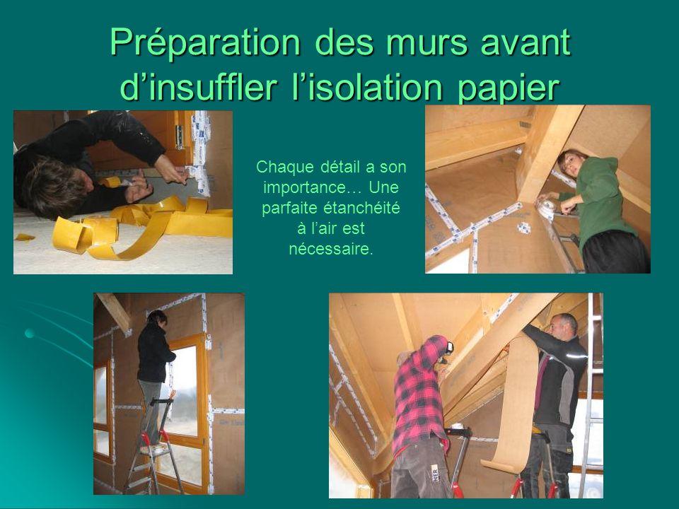 Préparation des murs avant d'insuffler l'isolation papier