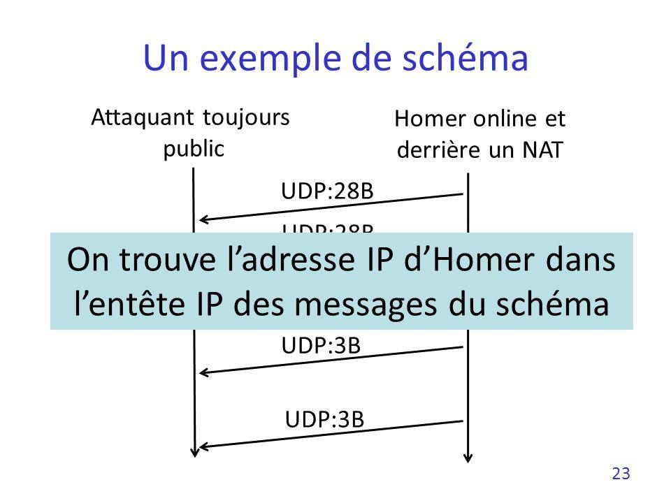 Un exemple de schéma Attaquant toujours. public. Homer online et derrière un NAT. UDP:28B. UDP:28B.