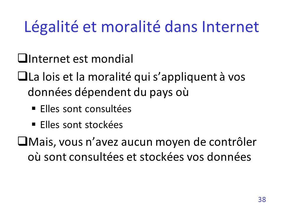 Légalité et moralité dans Internet