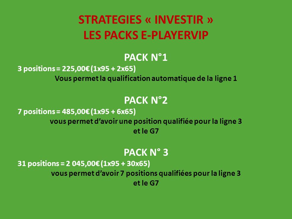 STRATEGIES « INVESTIR » LES PACKS E-PLAYERVIP