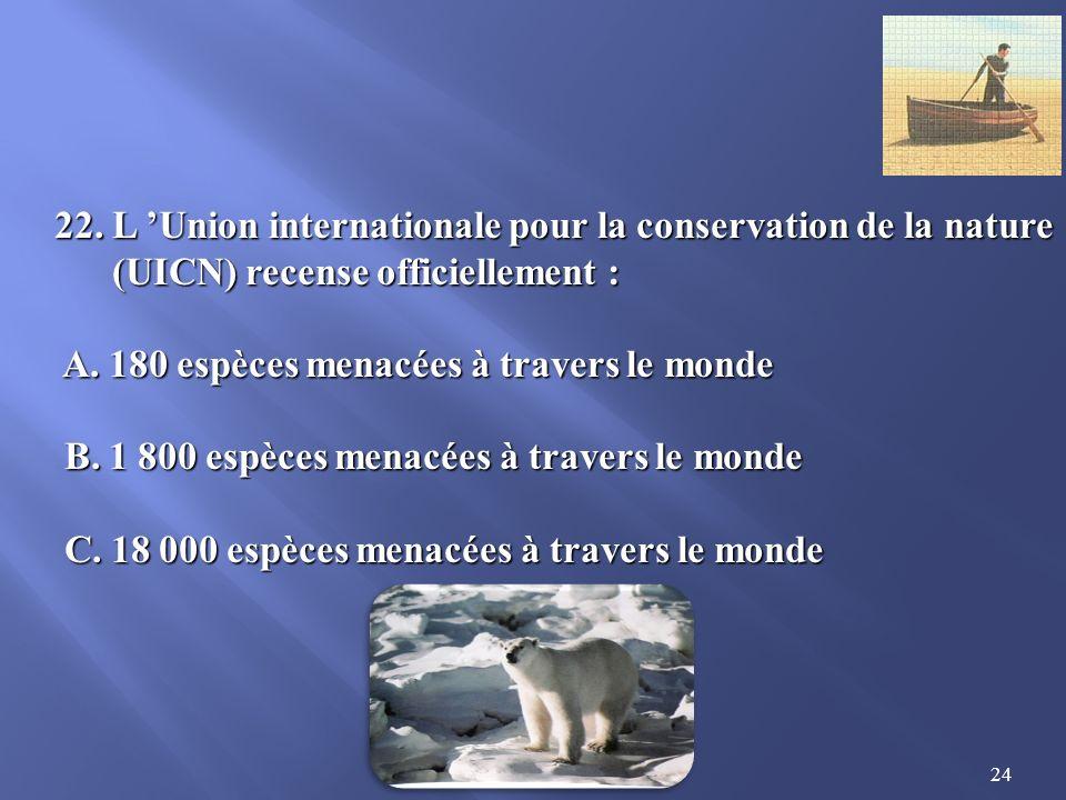 22. L 'Union internationale pour la conservation de la nature